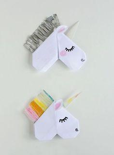 comment faire un marque page licorne origami, bricolage en papier origami facile pour enfants