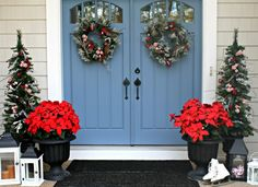 Christmas Porch Decorations Furniture Ideas: Home Design With Cool Christmas Decoration With Red Flowers And Blue Door And Glass And White Wall With Shoes And Carpet On Floor ~ 98host.com Furniture Inspiration
