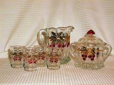"Vintage 7 Piece Set of Miniture Ohio ""Mosser"" Glass Thumbprint Red Cherries Gold #Mosser"