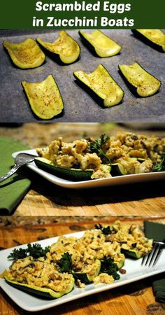 Scrambled Eggs in Zucchini Boats Meat Free-Meal