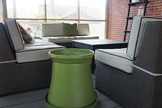 diy flower pot end table.  hmmm need a small table for drinks out back, this might work!