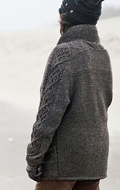...Darrowby cardigan by Lisa Grossman for Knitty, Winter 2012... cables up the sleeve and across the back yoke