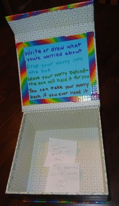 worry box with directions for students