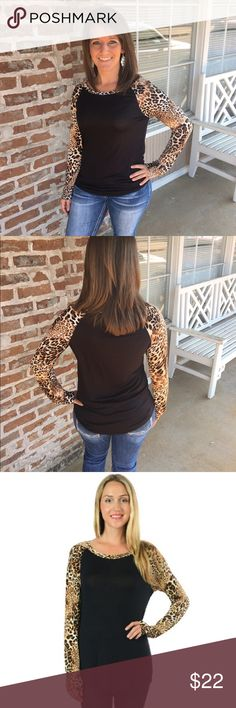 Leopard Print Raglan I'm in love with this new top!! It's very comfortable & great for fall! Leopard print raglan long sleeve with curved hem tunic. 95% Rayon 5% Spandex. Made in the USA. Model is wearing a medium. Acting Pro Tops Tees - Long Sleeve
