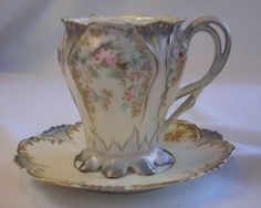 R.S. Prussia  Demi-Tasse Cup & Saucer, C.1890, Hand Painted Beauty
