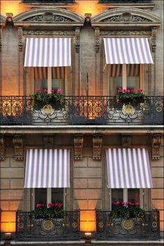 Hotel Lancaster Paris-- this is everything I love about Parisian buildings. Tan stone, black gates and pink flowers!