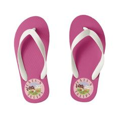 Cats N Tulips Floral Cute Funny Spring Pink Girly Kid's Flip Flops - girly gift gifts ideas cyo diy special unique