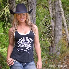 Barrel Racer Jessica Holmberg rocking our Cowboy Take me Away tank! Perfect for the country girl. Makes a great layering piece as we move into fall.  (Hot cowboy not included )