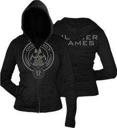 The Hunger Games District 12 Zip Up Hoodie Hooded Sweatshirt, Juniors Sizing