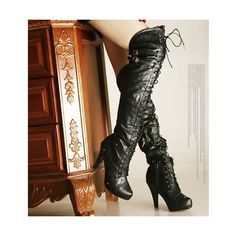 Sexy Black Thigh High Heel Platform Lace Up Gothic Punk Fashion Boots 7fb8459cf330