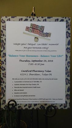 Have you been wondering about the benefits of bioidentical hormone replacement therapy? CareFirst Pharmacy Tulsa is hosting a ladies only evening September 29th from 7:00pm-8:30pm! Kaye and Dr Lehr will be speaking on the benefits of Botox and Hair Restoration as well!  Share with your friends!! - http://ift.tt/1HQJd81