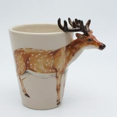 Japanese Sika Deer (Cervus nippon) ceramic cup...sold as a relief fundraiser for victims of the March 11, 2011 earthquake, tsunami and nuclear plant disaster...