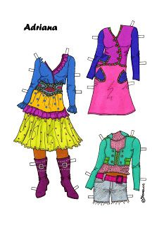 Karen`s Paper Dolls: Adriana 1-8 Paper Doll to Print in Colours. Adriana 1-8…