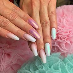 Gel Polish Natural + Gel Polish Call me Unicorn + Sugar Effect Gel + Effect Syrenki® Szmaragd + Efekt Syrenki® Pastel Pink by Sonia Bąk, Indigo Young Team #nails #nail #nailsart #indigonails #indigo #hotnails #summernails #springnails  #omgnails #amazingnails #pastelnails #mermaideffect #emerald #effectnails #pastel