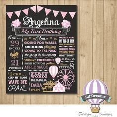 Carnival Pink Gold First Birthday Chalkboard by LilDreamsDesign