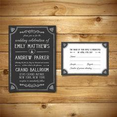 Printable Wedding Invitation & RSVP Templates  by birDIYdesign