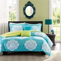 Twin Teal Blue Damask Comforter Set with Green Accents Reversible- Free Shipping