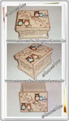 Caixa tema coruja com detalhe em relevo - mdf  madeira  http://www.amocarte.blogspot.com.br/