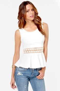 Encircle of Love Ivory Lace Peplum Top