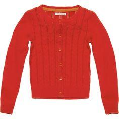 Dun gebreid oranje vest van Van Hassels. Ook leuk op het geruite rokje! #KikiBo #VanHassels www.kikibo.nl