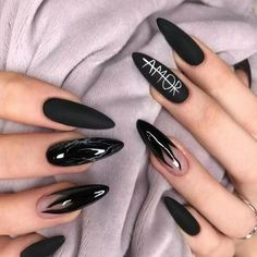 Long Nail Designs, Fall Nail Art Designs, Black Nail Designs, Nail Polish Designs, Nails Design, Edgy Nails, Grunge Nails, Stylish Nails, Neutral Nails