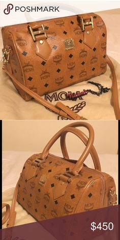 """MCM  Boston bag 100% Authentic (I don't buy inspired ones). after I used a few times just kept it in a closet as my collections. Great condition like you can see in the pictures. There's a not noticeable tiny scratch in the back(u can see it in the last pic) No stain inside & outside. 10.3""""W X 7.9""""H X 6.3""""D. strap drop: 4.5"""", crossbody strap drop: 20"""" - 22.5"""" Can go with any outfit, it comes with a dust bag (I can't find the warranty card but MCM always offer repairs service for a fee) MCM…"""