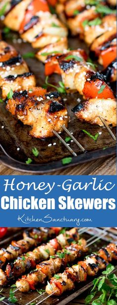 Honey Garlic Chicken Skewers - Tender pieces of marinated chicken cooked on a BBQ or griddle for a sweet and smoky flavour. These Honey Garlic Chicken Skewers are a winner on the BBQ! Barbecue Recipes, Grilling Recipes, Cooking Recipes, Healthy Recipes, Kabob Recipes, Vegetarian Grilling, Healthy Grilling, Vegetarian Food, Easy Cooking
