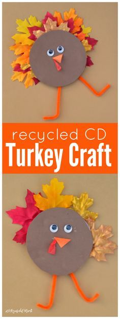 Transform and old CD or DVD into a turkey kid craft for Thanksgiving. recycled craft | upcycled craft | fall
