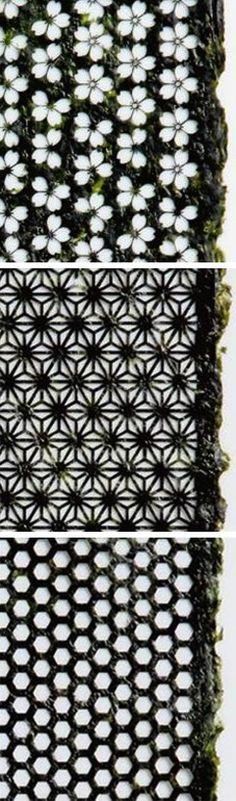 Design nori, or lasercut seaweed, by Hiroyuki Umino (via designboom, via swissmiss http://www.swiss-miss.com/2012/04/laser-cut-seaweed.html)