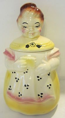 VINTAGE HEAVY POTTERY OLD LADY GRANNY COOKIE JAR