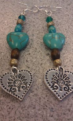 Bead earring with crackled heart stonessilver by DoubleDzBeadz, $4.00