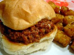 Grandmas Sloppy Joe-need to try this! Meat Recipes, Snack Recipes, Cooking Recipes, Recipies, Think Food, Love Food, Beef Dishes, Food Dishes, Food Network