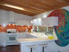 A stunning handmade backsplash designed by artist Adrian Litman. contemporary kitchen Great User Kitchens
