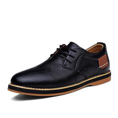 Men Dress Shoes Lace Up Oxford Shoes For Men Genuine Leather