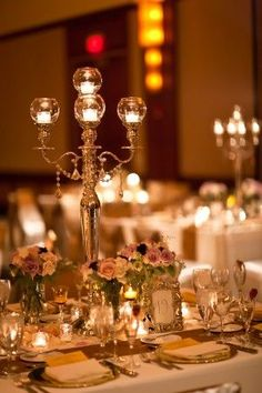 Formal wedding reception with awesome candelabra