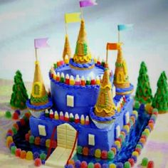 If you look at it a castle cake isn't tooooo complex to put together. 2 or 3 rectangle layers 2 or 3 round layers 5 cupcakes 5 upside down ice cream cones probably some support structure and whatever you want to decorate it with.