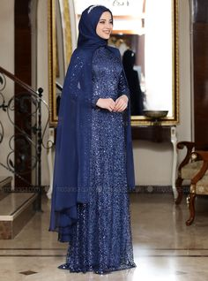 The perfect addition to any Muslimah outfit, shop Al-Marah's stylish Muslim fashion Navy Blue - Multi - Fully Lined - Crew neck - Muslim Evening Dress. Muslim Evening Dresses, Muslim Wedding Dresses, Muslim Dress, Blue Wedding Dresses, Wedding Gowns, Stylish Dress Designs, Stylish Dresses, Dress Pesta, Queen Dress