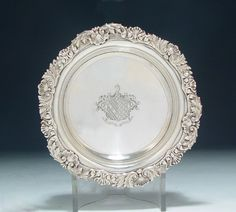 A Fine George IV Antique English Silver Wine Coaster London, 1823 by Benjamin Smith