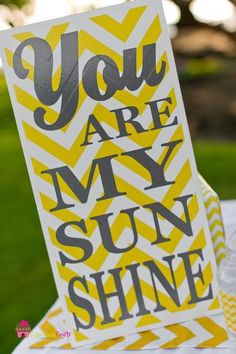 Items similar to You are my Sunshine, Baby Shower, Nursery Sign, I Love You Baby Sign, Baby Boy or Baby Girl on Etsy Yellow Sign, Yellow Chevron, Grey Yellow, Grey Baby Shower, Baby Boy Shower, Baby Shower Parties, Baby Shower Themes, Shower Ideas, Chevron Bathroom