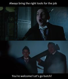 Penguin and Butch from Gotham Season 2 Episode 20 This scene made me laugh so hard!!!! #DreamTeam