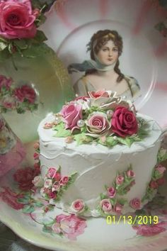 (AN ORDER FOR THE CASTLE)  Funky Junk Cottage Rose Decorated Fake Cake