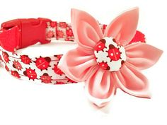 Girl Dog Collar and Flower Set, Girly, Lady Bug,  Red,  Pink, Adjustable Sizes for Extra Small to Ex