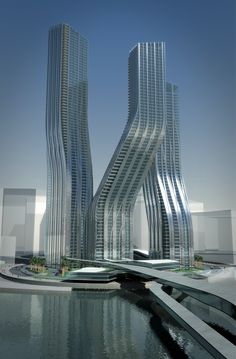 Dancing Towers, la arquitectura danzante de Zaha Hadid en Dubai  #Architecture Beautiful Architecture, Futuristic Architecture, Contemporary Architecture, Interior Architecture, Building Architecture, Interior Design, Unusual Buildings, Modern Buildings, Amazing Buildings