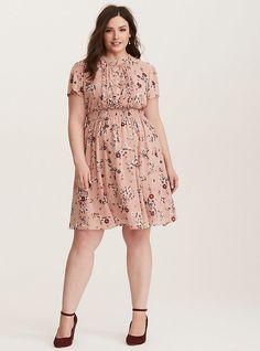 36ec731873838c Blush Floral Chiffon Skater Dress