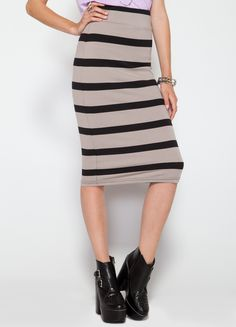 """Striped Stretch Pencil Skirt. 55% Cotton 45% Modal.  Length : 28""""  Model wears a size small."""