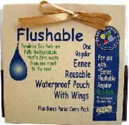 Eenee Eco Flushable Feminine Pads  A sanitary pad system which leaves ZERO waste from one month to the next.  Will fully bio-degrade with the biosolids at waste water plants.  Biosolids are often composted into soil conditioners for land application, tree farms have been shown to thrive on waste water.  Non chlorine bleached farm tree pulp for absorbency. Internationally tested for harmful substances by Oeko-Tex, our rayon cover is accredited as suitable for skin contact.