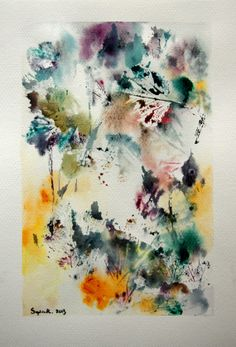 Original Watercolor Abstract Painting Nature by CanotStop on Etsy, $138.00