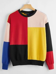 SHEIN Drop Shoulder Colorblock Pullover Fashion Books, Color Blocking, Drop, Pullover, Shoulder, Sweatshirts, Sweaters, Inspiration, Style