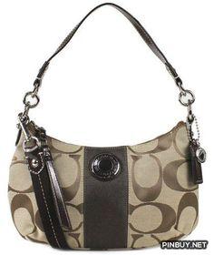 Coach Signature Stripe Demi Crossbody Handbag, Style 19218 Khaki Mahogany - PinBuy