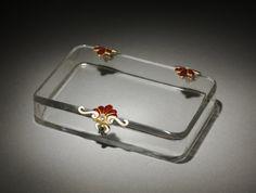 Cigarette Case, c.1895-1910 workmaster Mikhail Evlampievich Perkhin (Russian, 1860-1903), House of Fabergé , in rock crystal, enamel, gold, sapphire, diamond